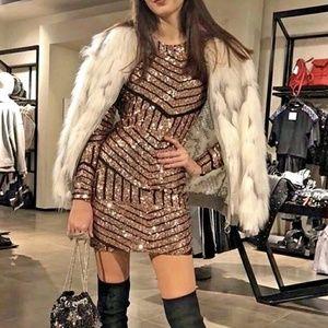 Copper Sequin Geometric Dress